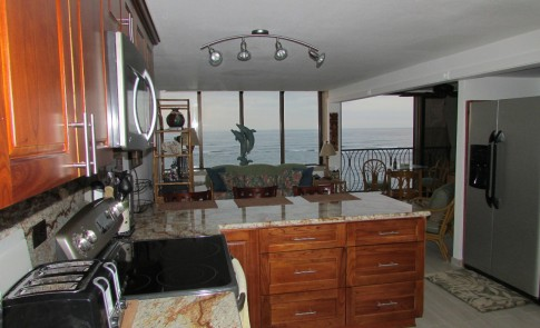 Living room and ocean view from the kitchen